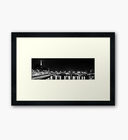 Eiffel Tower overview - panorama (Black & White) Framed Print