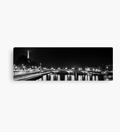 Eiffel Tower overview - panorama (Black & White) Canvas Print