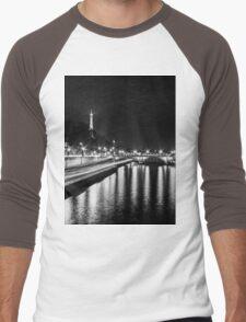 Eiffel Tower overview - panorama (Black & White) Men's Baseball ¾ T-Shirt