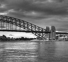 The Coathanger  B&W - (35 Exposure HDR Panorama) , Sydney Harbour, Sydney Australia - The HDR Experience by Philip Johnson