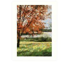 Lake view fall trees Art Print
