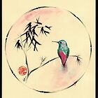 'Little Muse'   hummingbird watercolor painting by Rebecca Rees