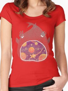Cosmic Fish with Gingerbread Astronaut Women's Fitted Scoop T-Shirt