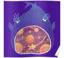 Cosmic Fish with Gingerbread Astronaut Poster