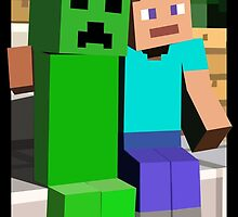 Minecraft Steve and Creeper by SiliconeBlue