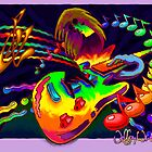 Psychedelic Guitar Print by Jeffery Wright