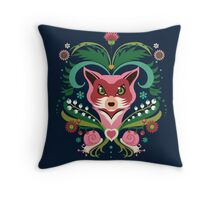 Pink FOX Portrait with Snails Throw Pillow