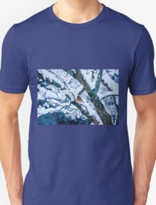 Female Cardinal In Snowy Tree Unisex T-Shirt