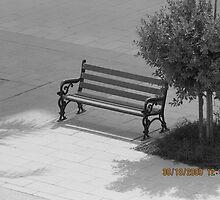 empty bench in the courtyard by gatanz