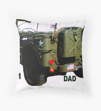 WW2 Jeep - Father's Day Card Throw Pillow