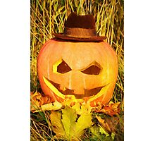 scary pumpkin hat Photographic Print