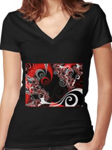 Red Smoke Women's Fitted V-Neck T-Shirt