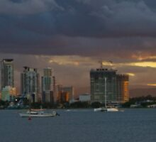 Sunset at Surfers Paradise by Steve Bass
