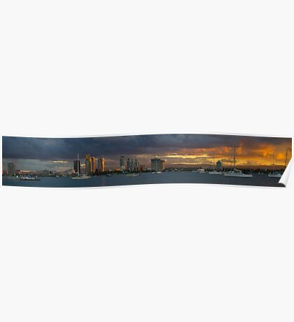 Sunset at Surfers Paradise Poster