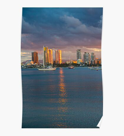 Sunset at the Spit Surfers Paradise Poster