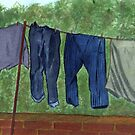 90 - WASHING DAY - DAVE EDWARDS - WATERCOLOUR - 2002 by BLYTHART