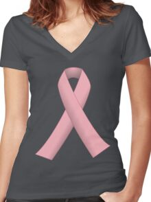 Pink Ribbon for Breast Cancer Awareness Women's Fitted V-Neck T-Shirt