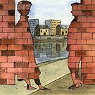 070 - IF ONLY THESE BRICKS COULD TALK I (WATERCOLOUR &amp; INK) - 1997 by BLYTHART