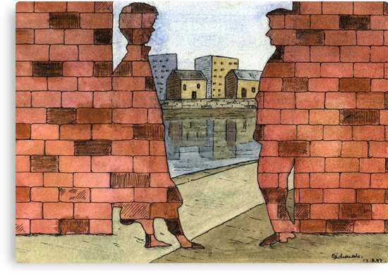 070 - IF ONLY THESE BRICKS COULD TALK I (WATERCOLOUR & INK) - 1997 by BLYTHART