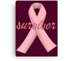 Survivor with Pink Ribbon Canvas Print