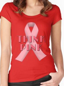 THINK PINK for Breast Cancer Awareness Women's Fitted Scoop T-Shirt