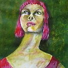 PINK LADY SURROUNDED BY GREEN by GittiArt