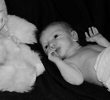 Jackson Daniel, almost 4 weeks old - B&W by Glynn Jackson
