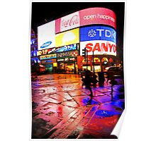 Rain Colors of London Piccadilly Circus Poster