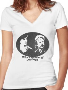 Rowsdower:  Zap And Troy the Legendary Journeys Tee (b&w version) Women's Fitted V-Neck T-Shirt