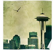 """Textured Seattle"" Poster"