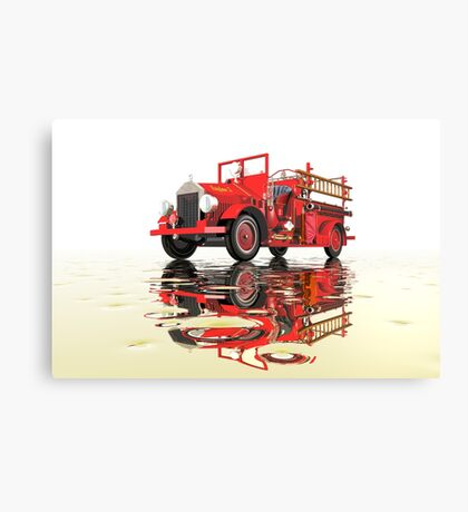 Antique Fire Engine with reflections Canvas Print