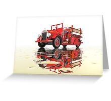 Antique Fire Engine with reflections Greeting Card