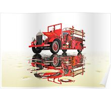 Antique Fire Engine with reflections Poster