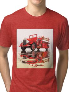 Antique Fire Engine with reflections Tri-blend T-Shirt