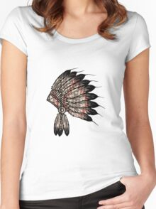 Native American Headdress Women's Fitted Scoop T-Shirt