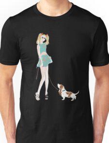 Kooky Fashion Girl with Basset Hound Unisex T-Shirt