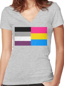 Panromantic Asexual Flag Women's Fitted V-Neck T-Shirt