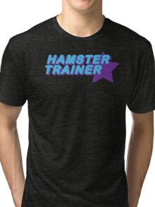 Hamster Trainer Blue/Purple Tri-blend T-Shirt