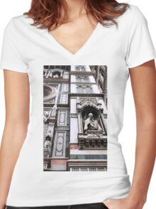 The Facade of St. Mary's Cathedral, Florence Women's Fitted V-Neck T-Shirt