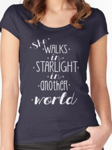 She walks in starlight Women's Fitted Scoop T-Shirt