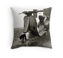 """Vintage Vespa"" Throw Pillow"