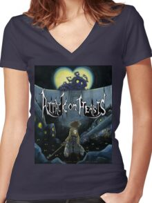 Attack on Hearts Women's Fitted V-Neck T-Shirt