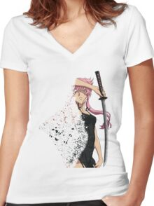 future diary mirai nikki yuno gasai disintegration anime manga shirt Women's Fitted V-Neck T-Shirt