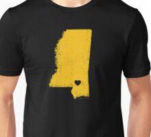 Hometown Heart - Mississippi - Hattiesburg area - Gold Unisex T-Shirt