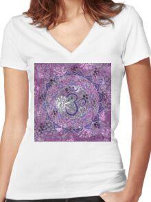 Seventh Chakra Mandala Women's Fitted V-Neck T-Shirt