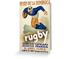 Vintage Art Deco Rugby sport travel poster  Greeting Card