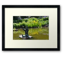 Statue of Little Girl with Butterflies in Pond Framed Print