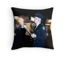 Marching with flaming torch Throw Pillow