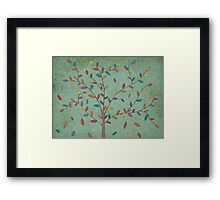 Falling Leaves Oak Tree Hand Drawn Art Framed Print
