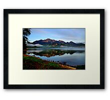 Mountain and Lake in the Morning Framed Print